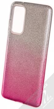 1Mcz Shining Duo TPU třpytivý ochranný kryt pro Samsung Galaxy S20 FE stříbrná růžová (silver pink)