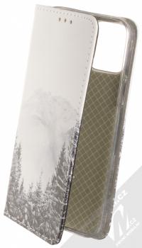 1Mcz Trendy Book Hora a zasněžený les 1 flipové pouzdro pro Apple iPhone 12, iPhone 12 Pro bílá (white)