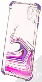1Mcz Trendy Vodomalba Anti-Shock Skinny TPU ochranný kryt pro Samsung Galaxy A12 průhledná růžová fialová (transparent pink violet) zepředu