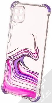 1Mcz Trendy Vodomalba Anti-Shock Skinny TPU ochranný kryt pro Samsung Galaxy A12 průhledná růžová fialová (transparent pink violet)