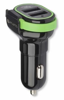 4smarts MultiPort nabíječka do auta s microUSB konektorem a duálním USB výstupem 3,4A pro mobilní telefon, mobil, smartphone, tablet černo zelená (black green)