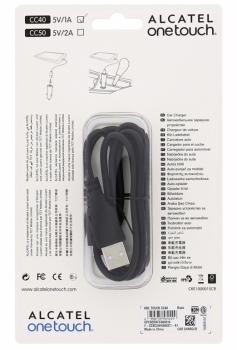 Alcatel CC40 originální nabíječka do auta s USB výstupem a originální USB kabel s microUSB konektorem černá (black)