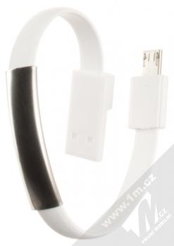 Blue Star Bracelet malý USB kabel s microUSB konektorem ve formě náramku na ruku bílá (white)