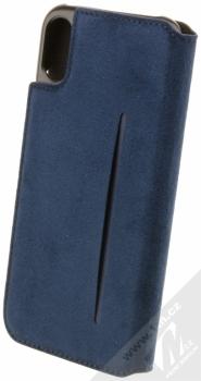 Bugatti Parigi Ultrasuede Booklet Case flipové pouzdro ze semiše pro Apple iPhone X tmavě modrá (dark blue) zezadu