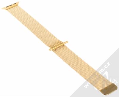 Dahase Milanese Magnetic magnetický pásek z leštěného kovu na zápěstí pro Apple Watch 42mm, Watch 44mm zlatá (gold) rozepnuté