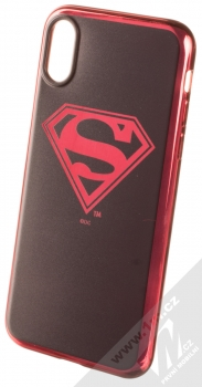 DC Comics Superman 004 TPU pokovený ochranný silikonový kryt s motivem pro Apple iPhone X, iPhone XS černá červená (black red chrome)