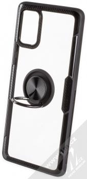 Forcell Carbon Clear Ring ochranný kryt s držákem na prst pro Samsung Galaxy A71 černá (black) otevřené