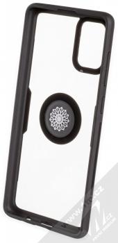 Forcell Carbon Clear Ring ochranný kryt s držákem na prst pro Samsung Galaxy A71 černá (black) zepředu