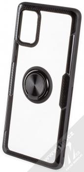Forcell Carbon Clear Ring ochranný kryt s držákem na prst pro Samsung Galaxy A71 černá (black)