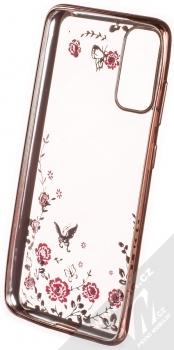 Forcell Diamond Flower TPU ochranný kryt pro Samsung Galaxy S20 růžově zlatá (rose gold) zepředu