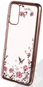 Forcell Diamond Flower TPU ochranný kryt pro Samsung Galaxy S20 růžově zlatá (rose gold)