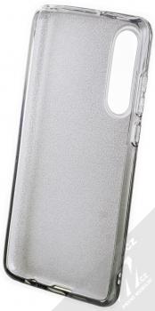 Forcell Shining třpytivý ochranný kryt pro Huawei P30 stříbrná černá (silver black) zepředu