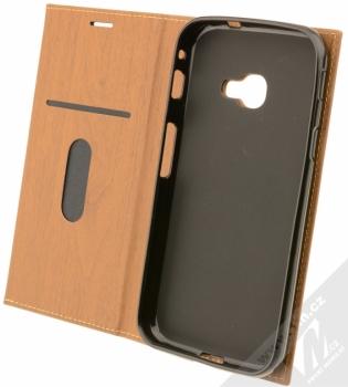 Forcell Wood flipové pouzdro s motivem dřeva pro Samsung Galaxy Xcover 4 hnědý dub (oak brown) otevřené