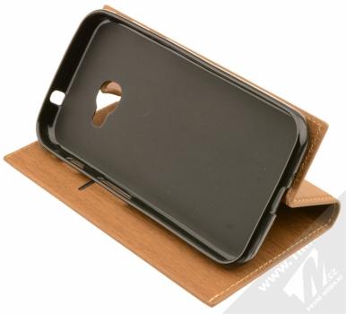 Forcell Wood flipové pouzdro s motivem dřeva pro Samsung Galaxy Xcover 4 hnědý dub (oak brown) stojánek