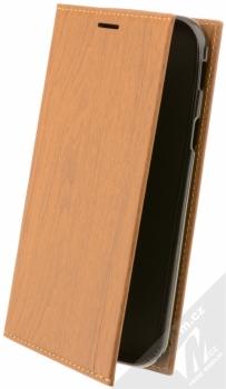 Forcell Wood flipové pouzdro s motivem dřeva pro Samsung Galaxy Xcover 4 hnědý dub (oak brown)