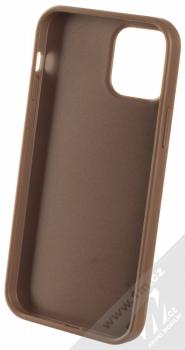 Guess 4G Metal ochranný kryt pro Apple iPhone 12, iPhone 12 Pro (GUHCP12M4GMGBR) hnědá (brown) zepředu