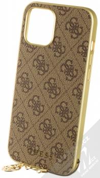 Guess Charms 4G ochranný kryt pro Apple iPhone 12 Pro Max (GUHCP12LGF4GBR) hnědá zlatá (brown gold)