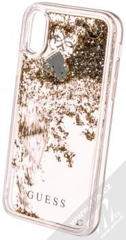 Guess Liquid Glitter Question of Heart ochranný kryt s přesýpacím efektem třpytek pro Apple iPhone X, iPhone XS (GUHCPXGLHFLGO) zlatá (gold) animace 1