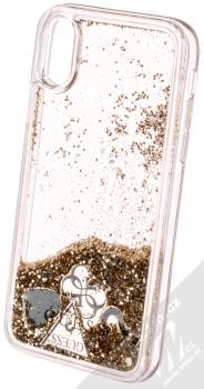 Guess Liquid Glitter Question of Heart ochranný kryt s přesýpacím efektem třpytek pro Apple iPhone X, iPhone XS (GUHCPXGLHFLGO) zlatá (gold) animace 5