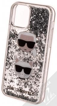 Karl Lagerfeld Karl and Choupette Liquid Glitter ochranný kryt s přesýpacím efektem třpytek pro Apple iPhone 11 Pro (KLHCN58KCGLSL) stříbrná (silver) zezadu