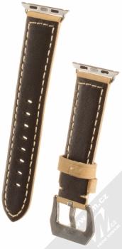 Maikes Cow Leather Strap kožený pásek na zápěstí pro Apple Watch 38mm béžová (beige) zezadu