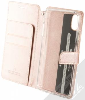 Molan Cano Issue Diary flipové pouzdro pro Apple iPhone XS Max růžově zlatá (rose gold) otevřené