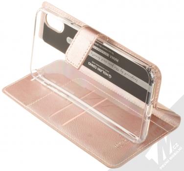 Molan Cano Issue Diary flipové pouzdro pro Apple iPhone XS Max růžově zlatá (rose gold) stojánek