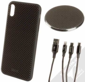 Nillkin Fancy Gift Set sada ochranného krytu, USB kabelu a podložky pro bezdrátové nabíjení pro Apple iPhone XS Max černá (black)