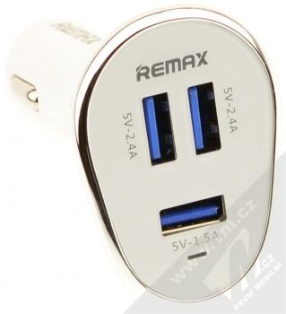 Remax 3U nabíječka do auta s 3x USB výstupem a 6,3A proudem bílá stříbrná (white silver) konektory