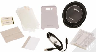 Samsung EP-WG95FBB Starter Kit originální sada stojánku pro bezdrátové nabíjení, ochranného krytu a fólie pro Samsung Galaxy S8 Plus černá černá (black black) balení