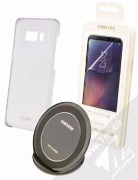 Samsung EP-WG95FBB Starter Kit originální sada stojánku pro bezdrátové nabíjení, ochranného krytu a fólie pro Samsung Galaxy S8 Plus černá černá (black black)
