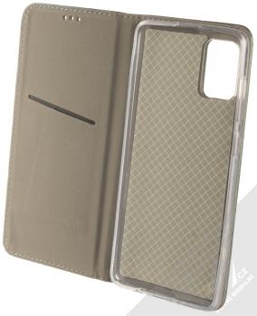 Sligo Smart Magnetic flipové pouzdro pro Samsung Galaxy A71 tmavě zelená (dark green) otevřené