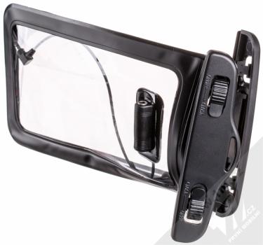 Sligo Waterproof Case vodotěsné pouzdro s audio výstupem 3,5mm pro mobilní telefon, mobil, smartphone od 5,0 do 5,8 palců černá (black) otevřené