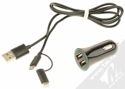 USAMS Car Charger Kit nabíječka do auta s microUSB konektorem, Apple Lightning konektorem a 2x USB výstupem 2,1A pro mobilní telefon, mobil, smartphone, tablet černá (black) balení