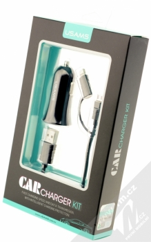 USAMS Car Charger Kit nabíječka do auta s microUSB konektorem, Apple Lightning konektorem a 2x USB výstupem 2,1A pro mobilní telefon, mobil, smartphone, tablet černá (black) krabička