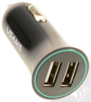 USAMS Car Charger Kit nabíječka do auta s microUSB konektorem, Apple Lightning konektorem a 2x USB výstupem 2,1A pro mobilní telefon, mobil, smartphone, tablet černá (black) nabíječka konektory