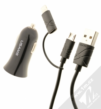 USAMS Car Charger Kit nabíječka do auta s microUSB konektorem, Apple Lightning konektorem a 2x USB výstupem 2,1A pro mobilní telefon, mobil, smartphone, tablet černá (black)