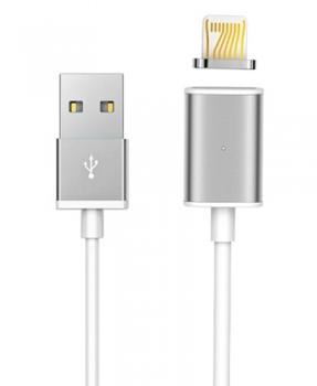 USAMS Metal Magnetic USB kabel s magnetickým 5 pinovým konektorem a samostatnou magnetickou záslepkou s Apple Lightning konektorem tmavě šedá (grey)