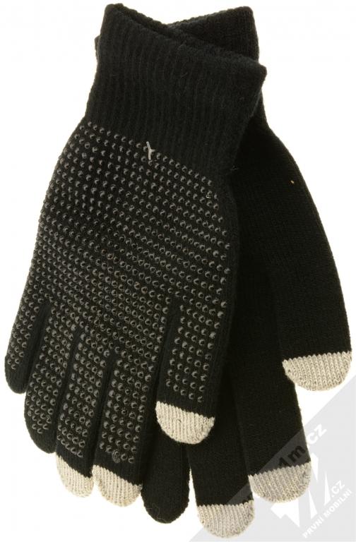 Aligator Touch Gloves Glitter pletené rukavice s cvočky pro kapacitní dotykový  displej černá (black) 569b7e3a6a