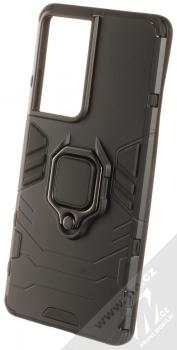 1Mcz Armor Ring odolný ochranný kryt s držákem na prst pro Samsung Galaxy S21 Ultra černá (black)