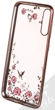 1Mcz Diamond Flower TPU ochranný kryt pro Samsung Galaxy A50, Galaxy A30s růžově zlatá (rose gold) zepředu