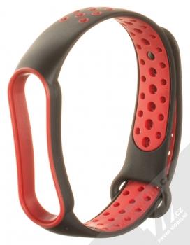 1Mcz Dots Double Color Silikonový sportovní řemínek pro Xiaomi Mi Band 5, Mi Band 6 černá červená (black red)