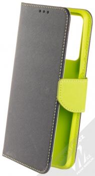 1Mcz Fancy Book flipové pouzdro pro Huawei P Smart (2021) modrá limetkově zelená (blue lime)