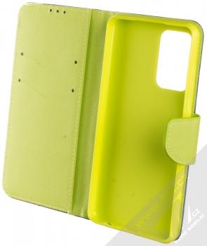 1Mcz Fancy Book flipové pouzdro pro Samsung Galaxy A52, Galaxy A52 5G modrá limetkově zelená (blue lime) otevřené