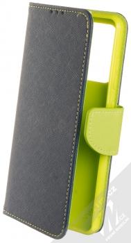 1Mcz Fancy Book flipové pouzdro pro Samsung Galaxy A52, Galaxy A52 5G modrá limetkově zelená (blue lime)