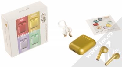 1Mcz i12 inPods Eleven TWS Bluetooth stereo sluchátka zlatá (gold) balení