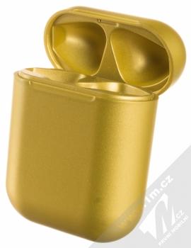 1Mcz i12 inPods Eleven TWS Bluetooth stereo sluchátka zlatá (gold) nabíjecí pouzdro otevřené