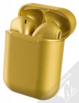1Mcz i12 inPods Eleven TWS Bluetooth stereo sluchátka zlatá (gold) nabíjecí pouzdro se sluchátky