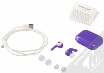 1Mcz i20 AirPro TWS Bluetooth stereo sluchátka fialová (violet) balení