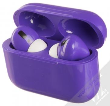 1Mcz i20 AirPro TWS Bluetooth stereo sluchátka fialová (violet) nabíjecí pouzdro se sluchátky